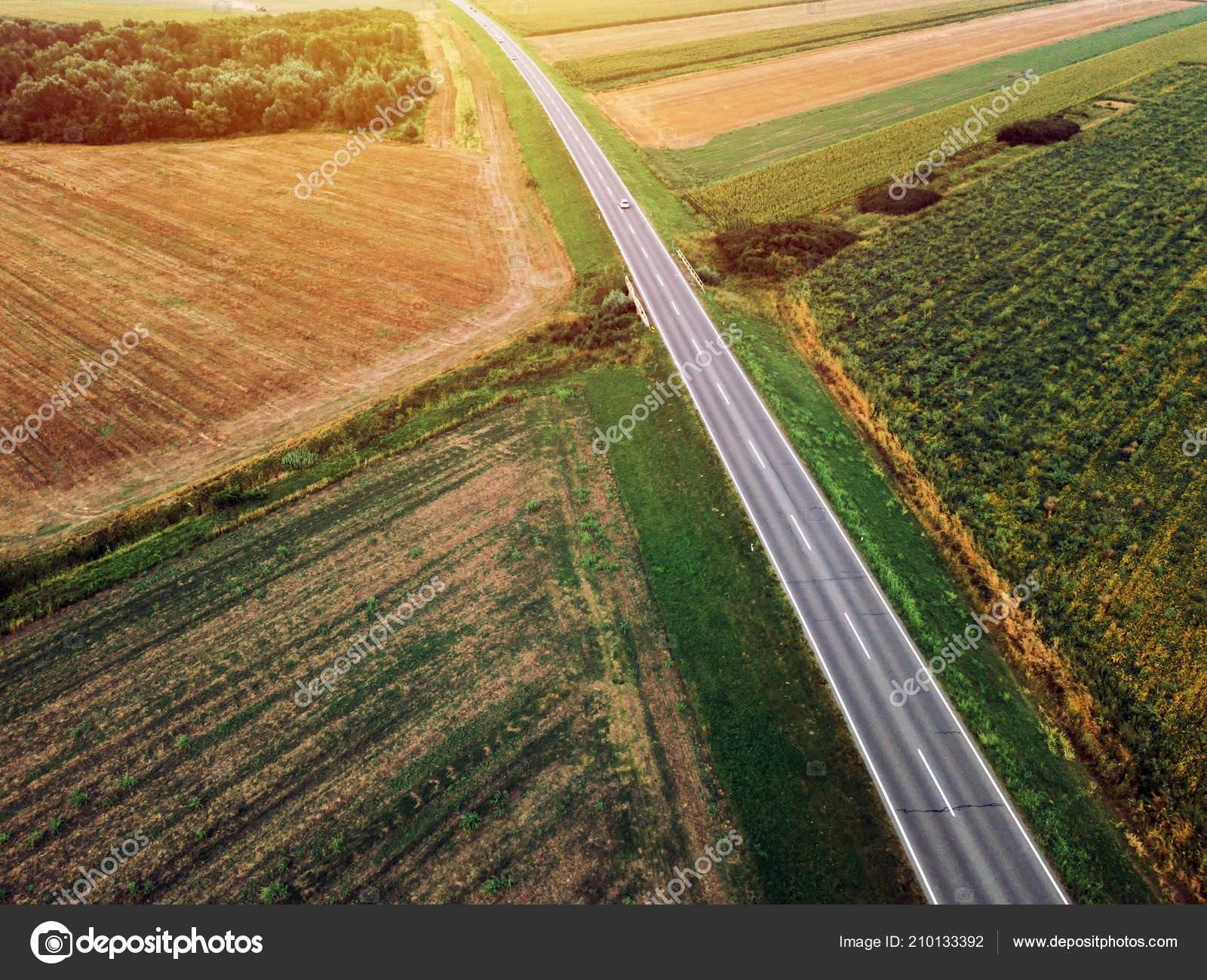 Aerial Shot Car Road Drone Point View Stock Photo C Stevanovicigor 210133392
