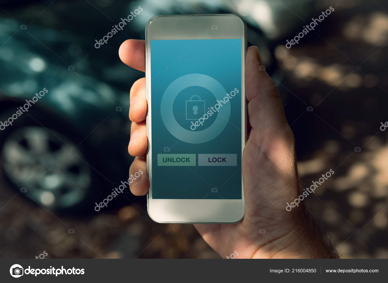 Unlock Car With Phone >> Car Lock Unlock Smart Phone App Mock Screen Stock Photo