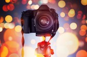 Photo DSLR camera on tripod, photography and videography concept