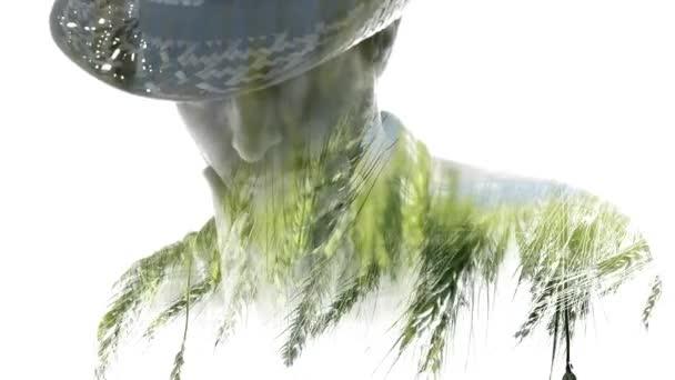 Dvojitá expozice farmář ječmen pěstování koncepční záběry s mužské agronom v poli