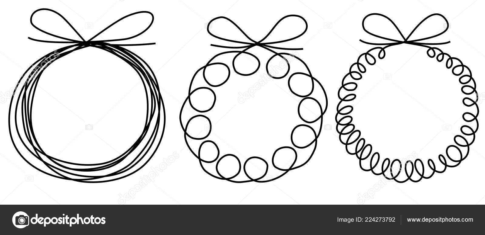 Drawings Of Christmas Wreaths.Christmas Wreath Line Drawing Holiday One Line Drawing