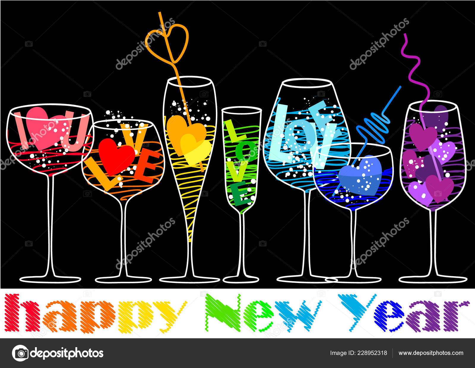 new year background rainbow love drinks stock vector