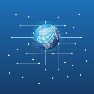 Cloud Computing and Global Networks Concept Design with Spotted Earth Globe and Network Mesh