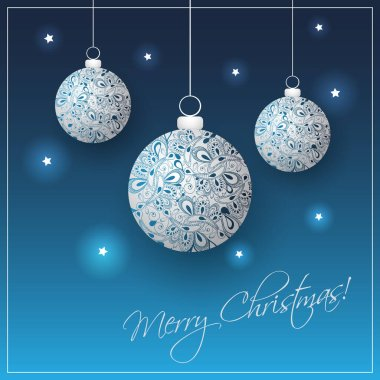 Blue Merry Christmas Card with Ornamentally Patterned Silver Grey Hanging Christmas Balls