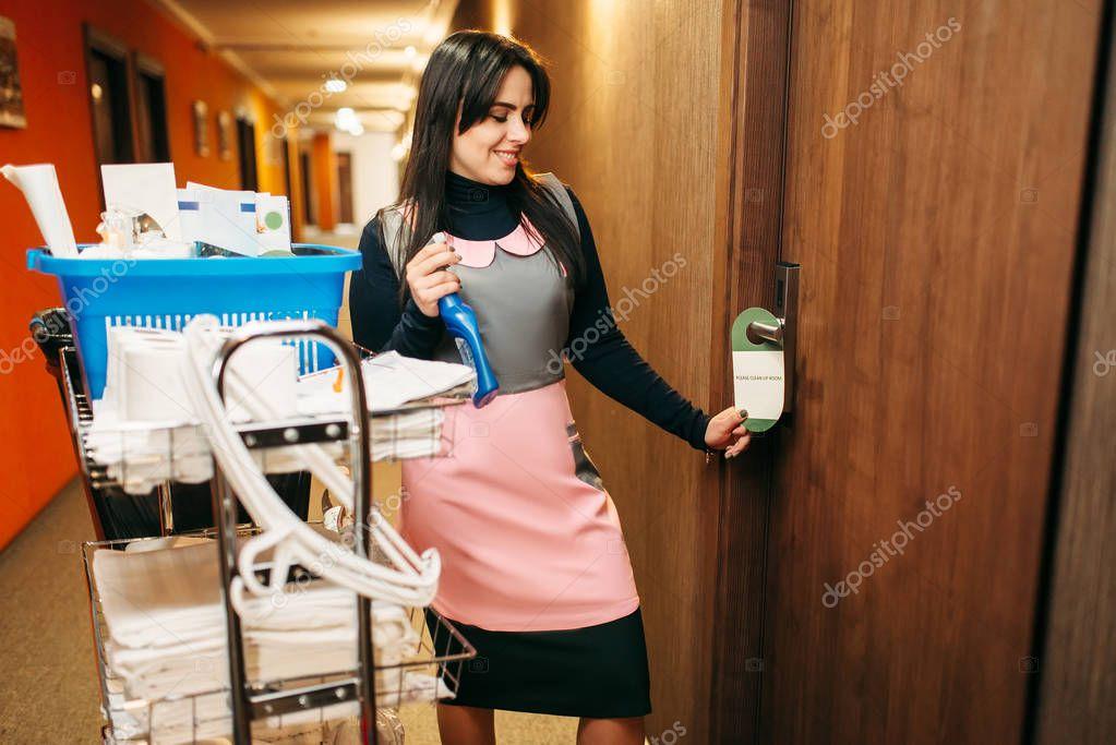 Красивую служанку в коридоре