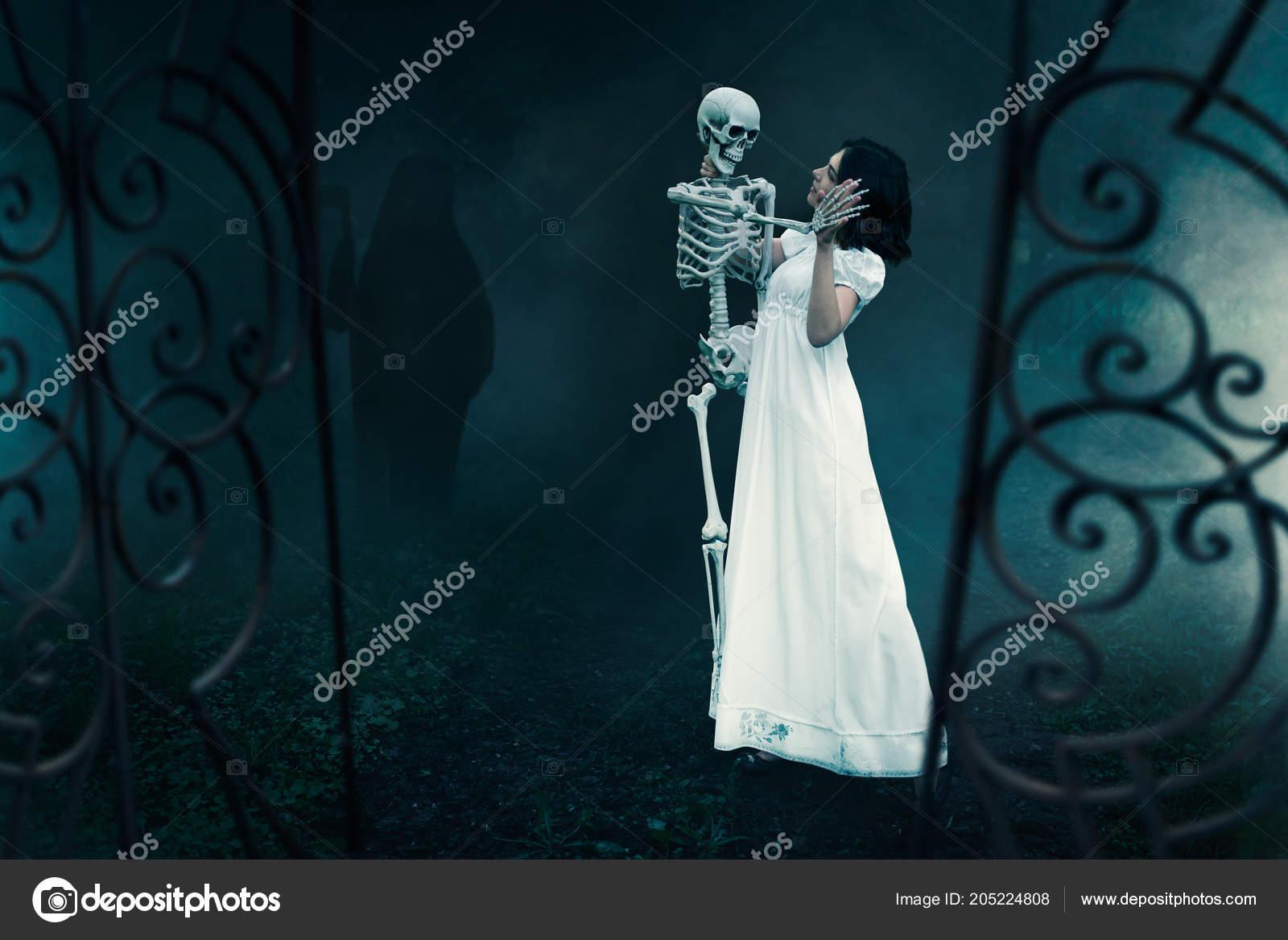 Female Victim Human Skeleton Gates Old Cemetery Night Photo Horror