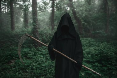 Death in a black hoodie and with a scythe in forest. Horror style, fear, spooky evil