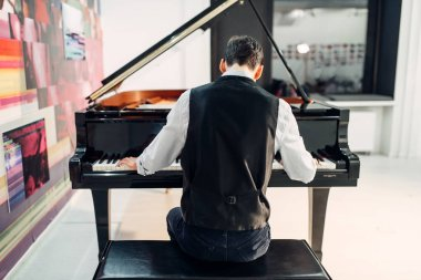 Male pianist playing composition on grand piano, back view. Musician practicing melody at the royale, classical musical instrument