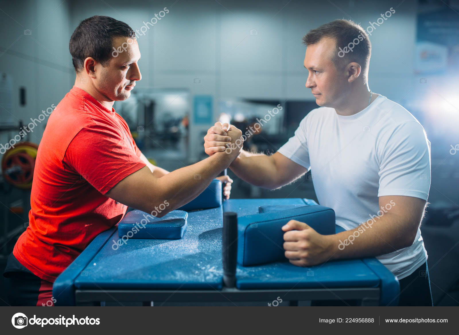 Two Arm Wrestlers Prepares Battle Table Pins Workout Wrestling