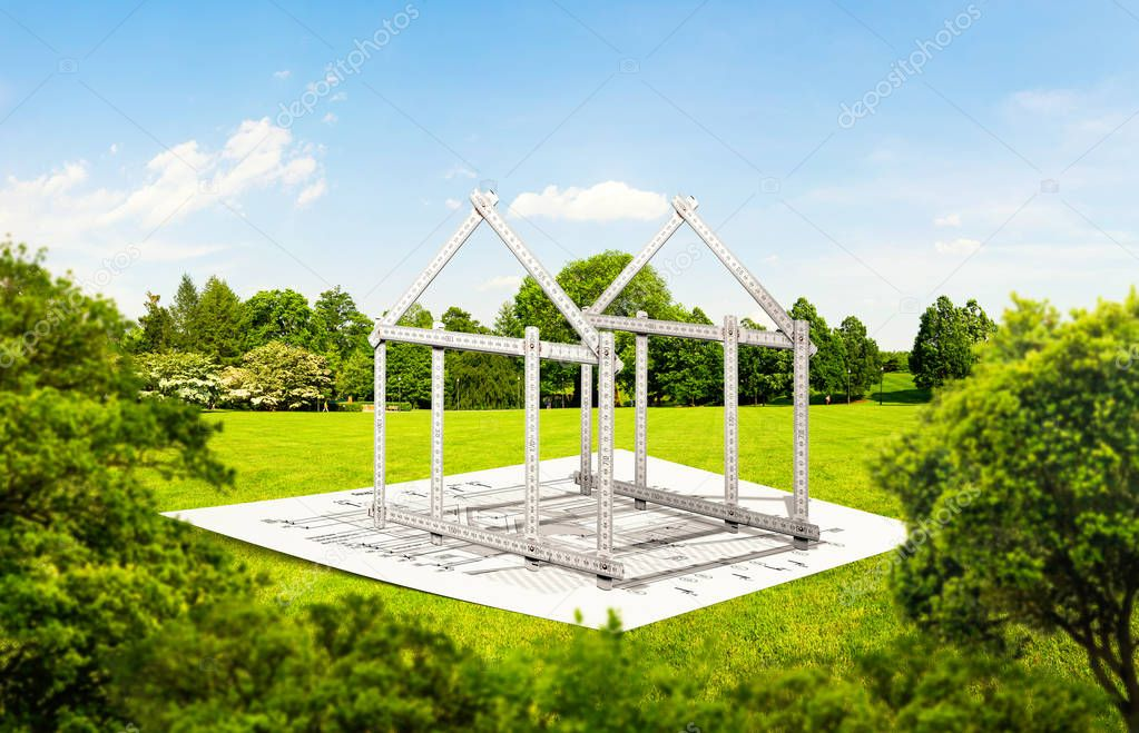 House frame from ruler, construction architecture. Building project, material calculation idea
