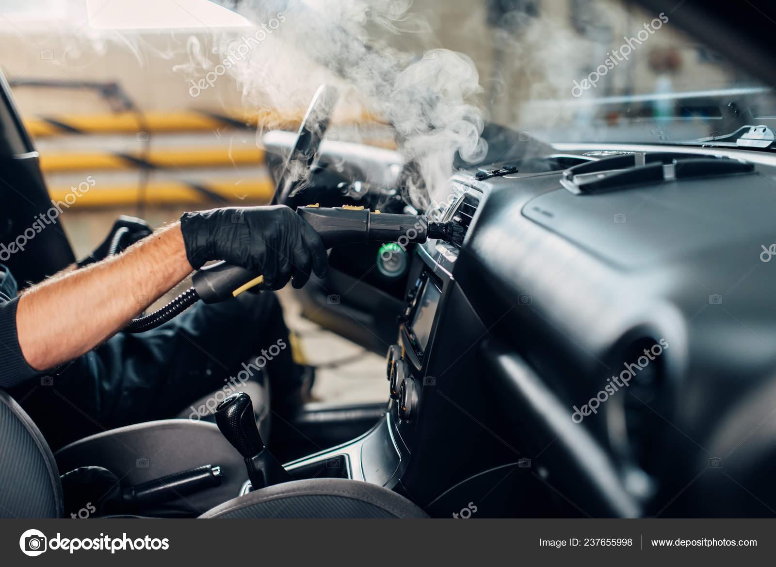 Steam Clean Car Interior >> Carwash Service Male Worker Gloves Removing Dust Dirt Steam