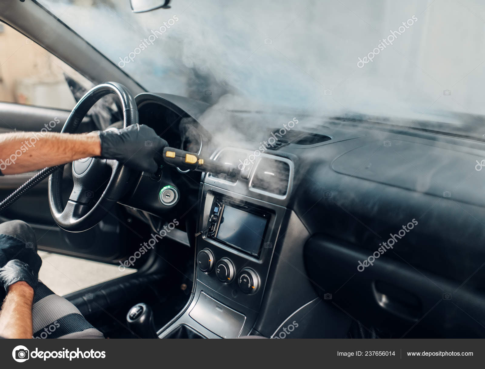 Steam Clean Car Interior >> Carwash Service Male Worker Gloves Cleans Salon Steam