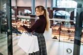 Mladá žena s nákupní tašky v obchoďáku. Obchod s oblečením, konzumní životní styl, móda, atraktivní dáma, Nakupování v obchodě shopaholic