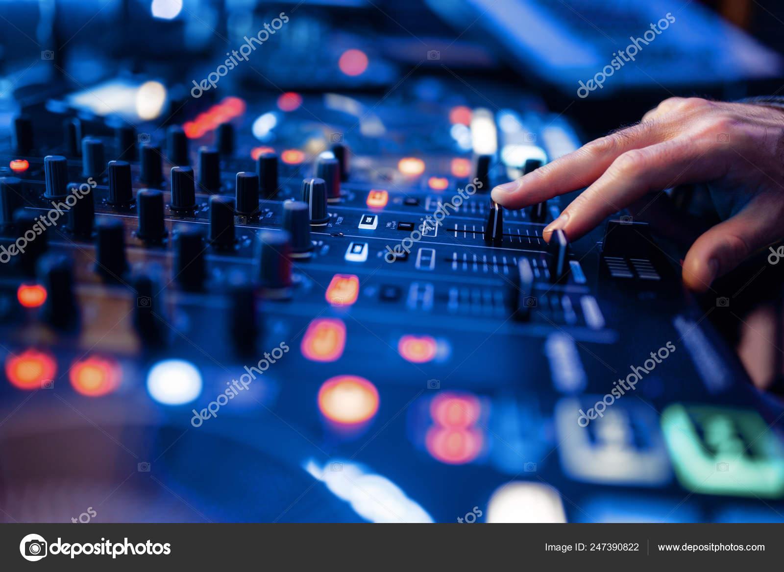 Sound Operator Hands Volume Control Panel Recording Studio Musician