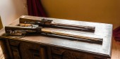 Museum with old guns, ancient armor storage, Europe. Medieval european weapons, famous places for travel and tourism