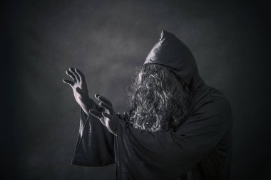 The witch in hooded cloak stock vector