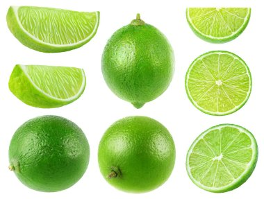 Isolated limes. Collection of whole and lime fruits isolated on white background with clipping path
