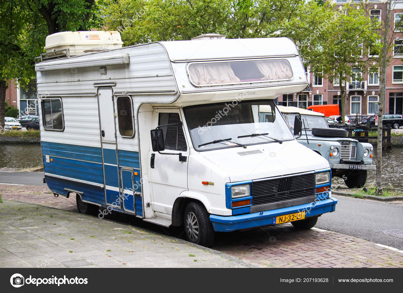 Amsterdam Netherlands August 2014 Old Campervan Fiat Ducato City Street Stock Editorial Photo C Artzzz 207193628
