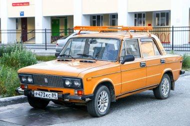 Nadym, Russia - July 14, 2017: Motor car Lada 2106 Zhuguli in the city street.