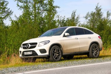 Yamal, Russia - August 11, 2019: Luxury crossover Mercedes-Benz GLE-class (C292) at the countryside.