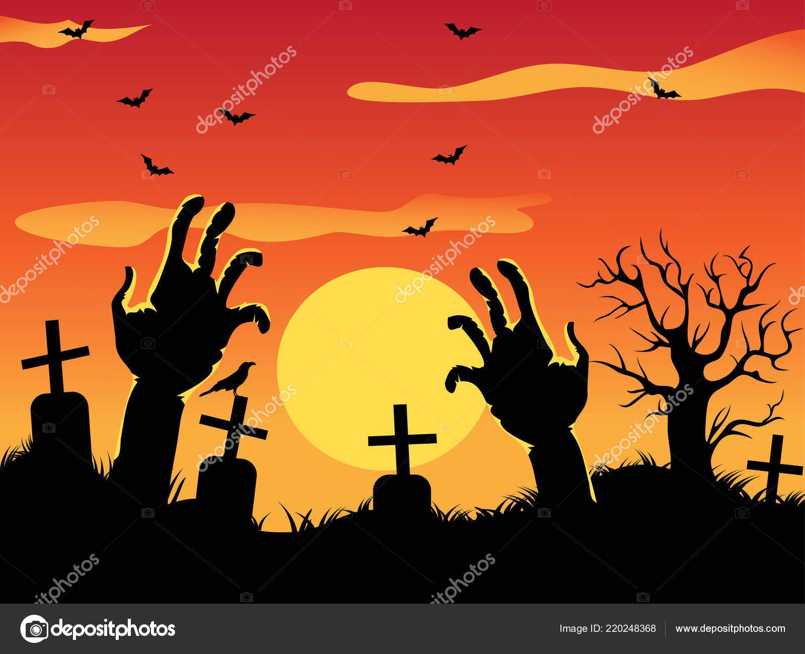 Arrière Plan Dessin Halloween Avec Zombie Mains Arbre Mort