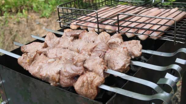 Barbecue na grilu. Shašlik vyrobený z kostek masa na špejlích