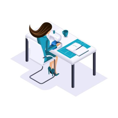 Isometric tailor, a designer sews clothes for display in high fashion, a private atelier, a workshop. The entrepreneur working for himself, his own business