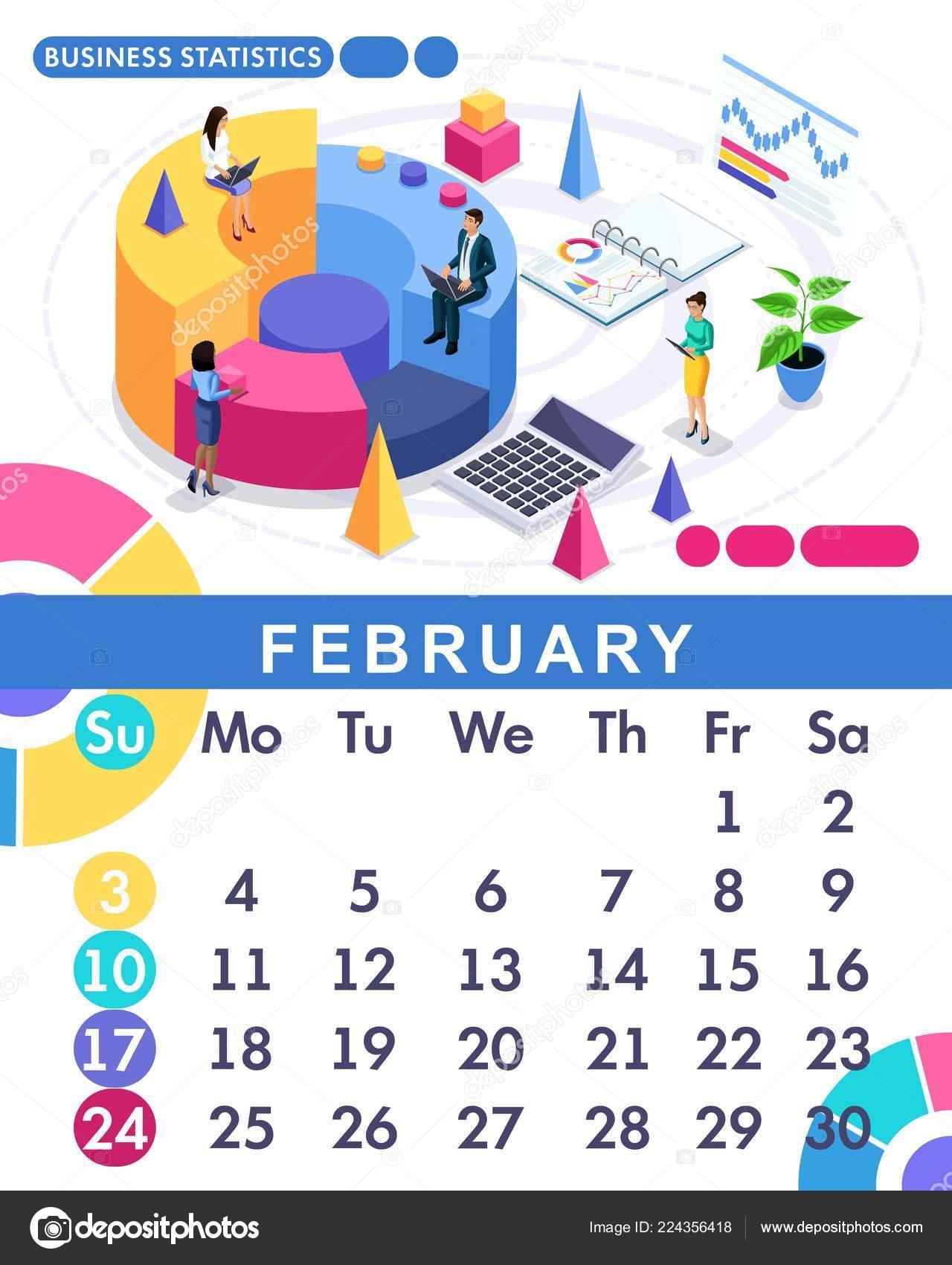 Calendario Financiero 2019.Isometrica Mes Febrero Del Calendario Conjunto De 2019