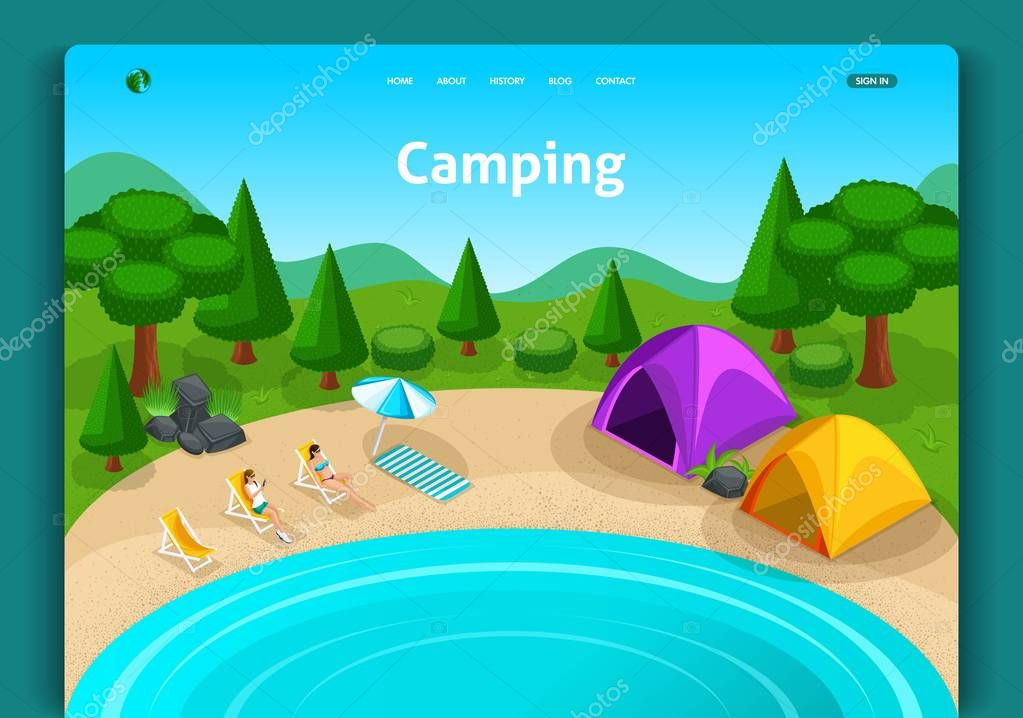 Website template design. Isometric concept Adventures, travel and eco tourism concept. Touristic camp tent. Easy to edit and customize