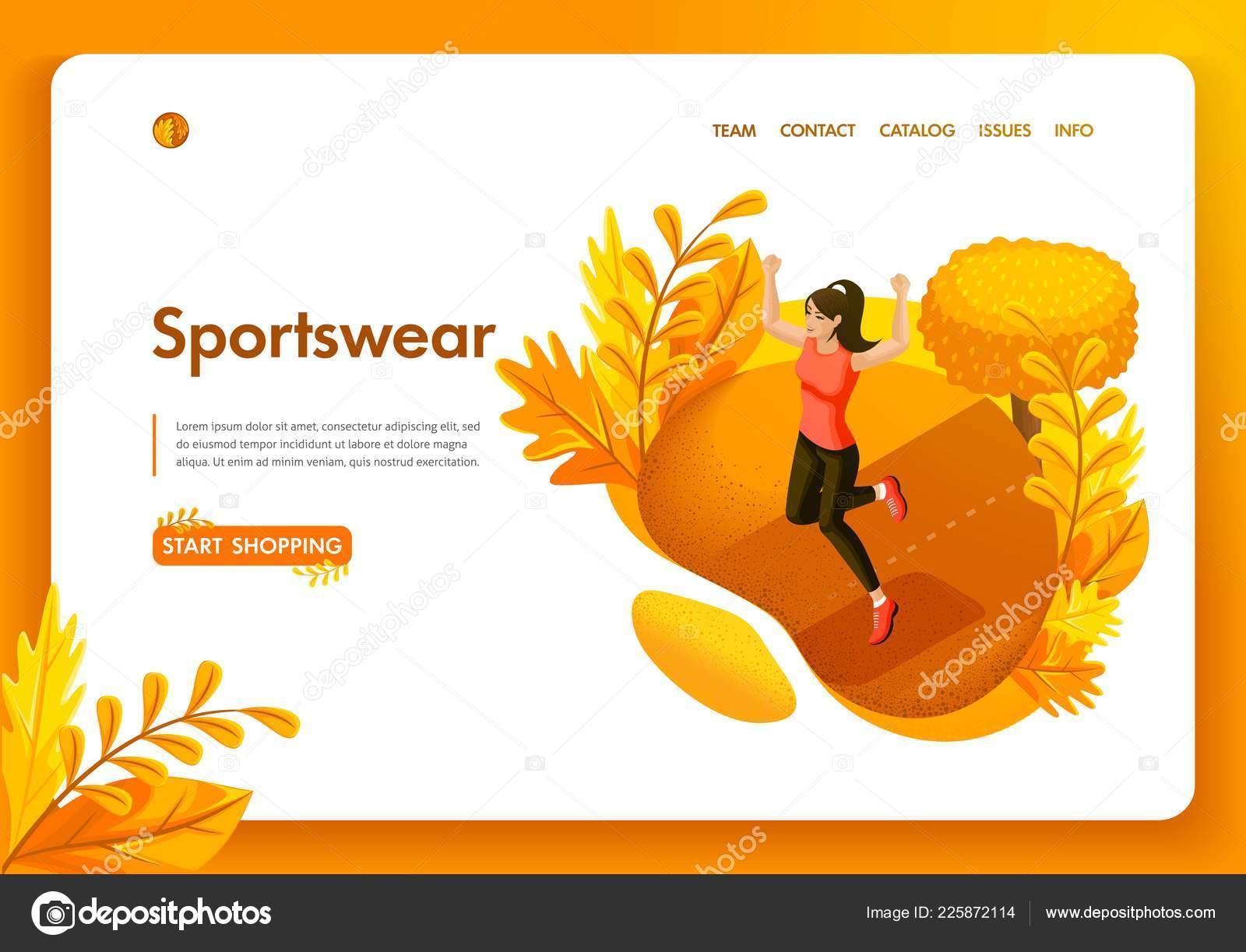 0fa69c228 Modelo de design de site. Desportista menina Outono conceito isométrica