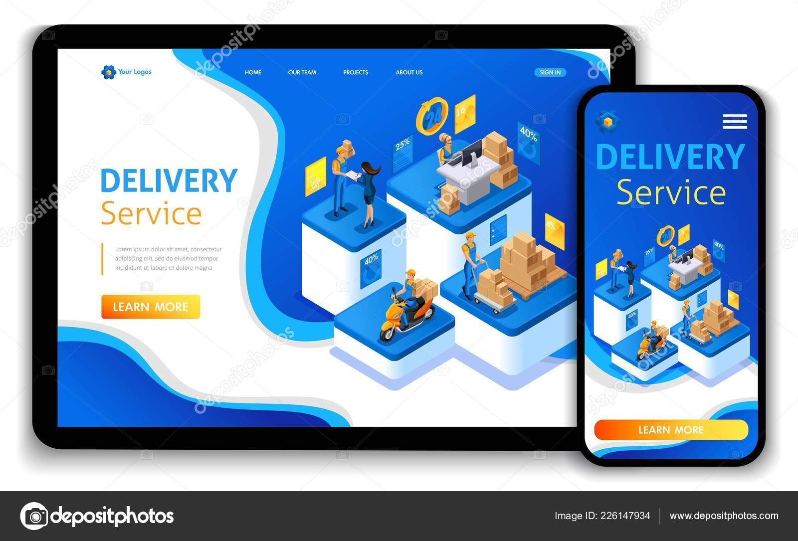 website template design isometric concept delivery serves express
