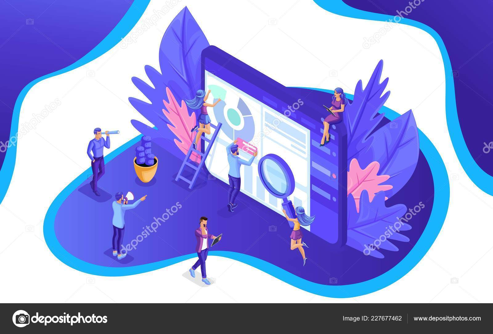 isometric team of specialists working on digital marketing strategy landing page digital marketing vector illustration stock vector c elizaliv 227677462 https depositphotos com 227677462 stock illustration isometric team of specialists working html