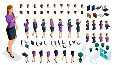 Isometric set for creating your character, a large set of gestures of hands and feet of a woman, a business lady. Create your vector character