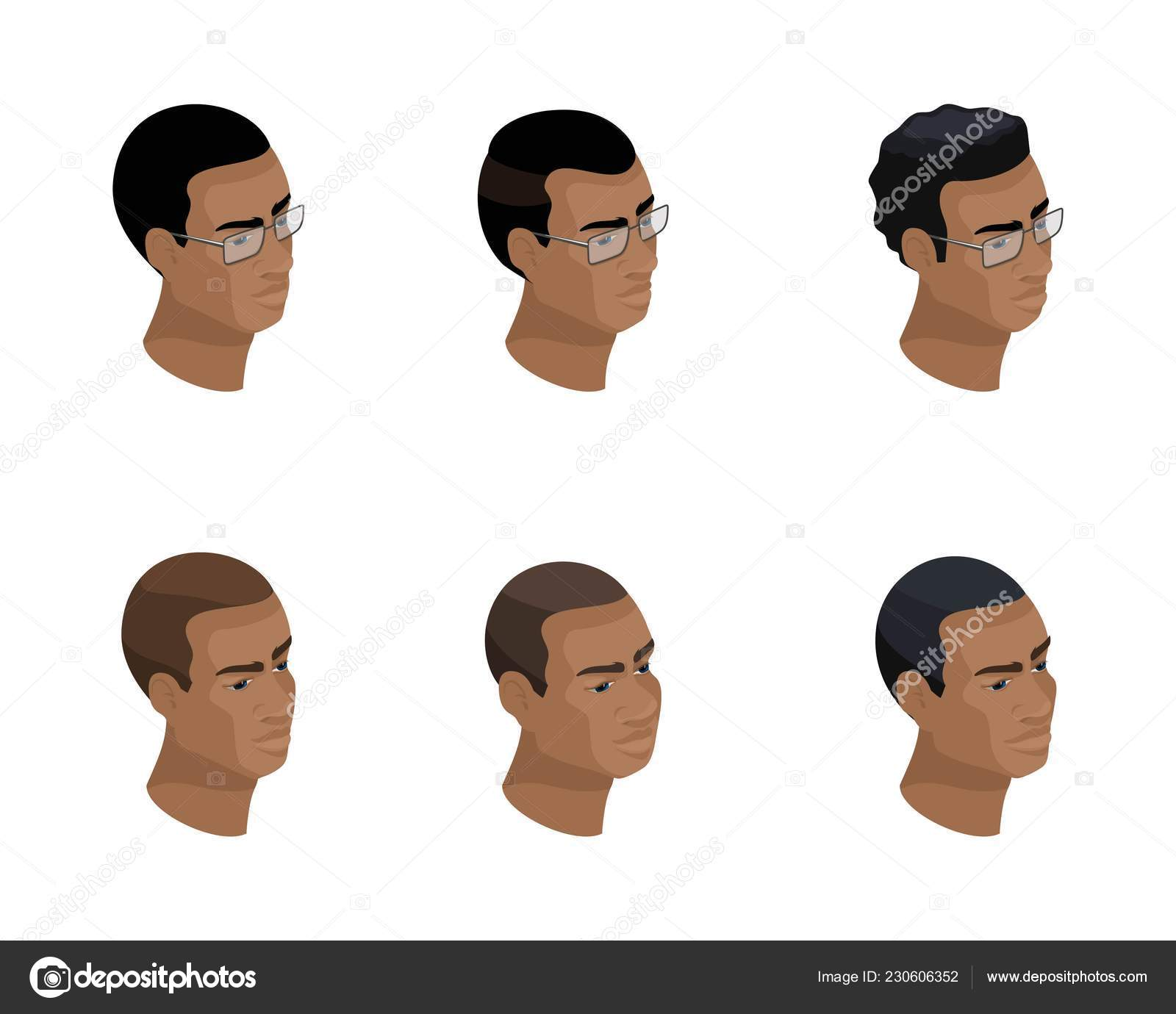 Isometry Of An Icon Of A Head Of A Hairstyle Of An African American