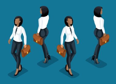 Isometry is a business woman. 3d girl of an African American office worker, in business trousers and a blouse front view and rear view in motion. Girl for vector