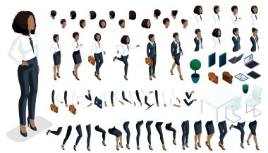Large isometric Set of hand gestures and legs of African American woman 3d business lady. Create your isometric office worker for vector illustrations