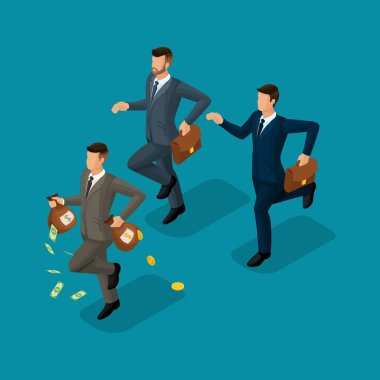 Trendy isometric people, 3d businessman, concept with young businessman, money, profit, gold, running, chasing, money loss isolated on bright blue background