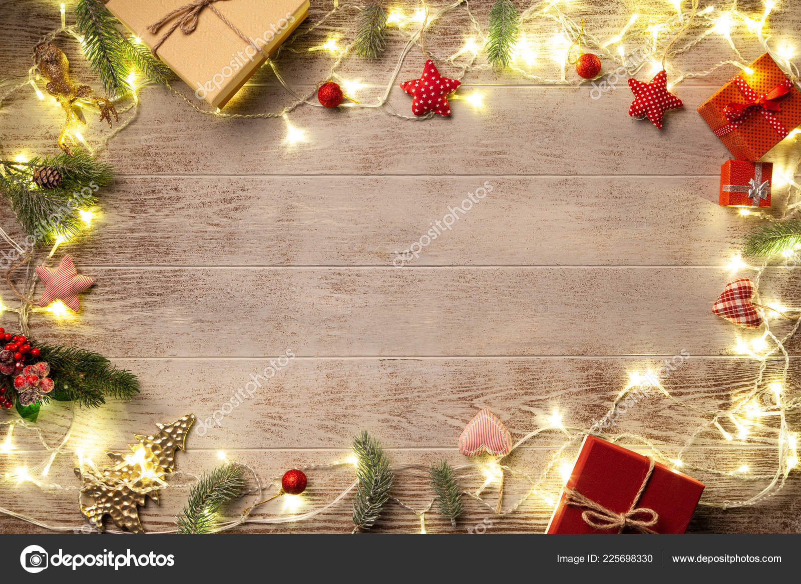 Christmas Lights Background.Background Wooded Christmas Lights On Wooded Background