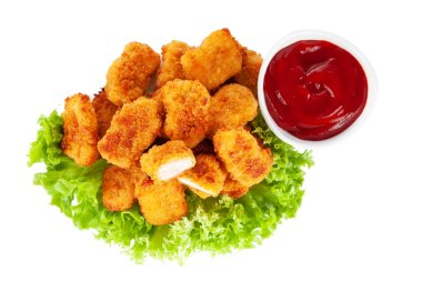 Chicken nuggets isolated on white background stock vector