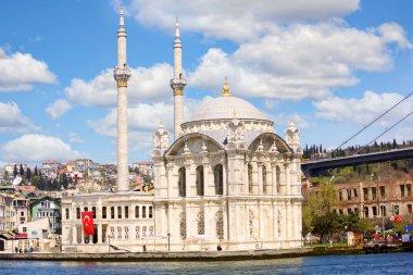 Ortakoy Mosque on the Bosphorus, Istanbul, Turkey stock vector