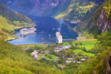 Geiranger Fjord with cruise ships in Norway