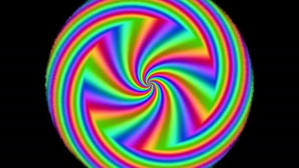 Rostoucí vícebarevné spektrální kruhy kolo paprsky 70s Psychedlic
