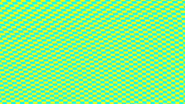 A hajlított cián sárga négyzetek pulzáló rácsa