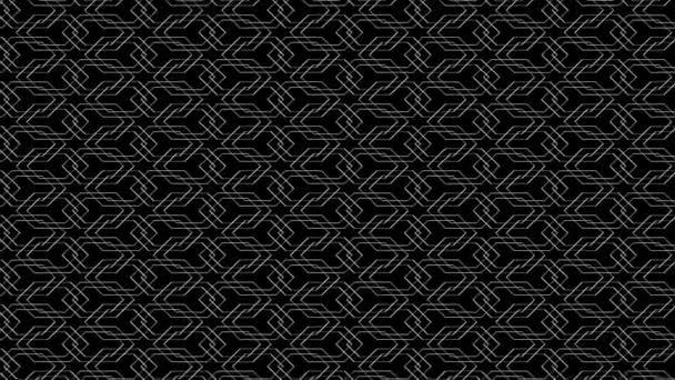 Mřížka propletených šestiúhelníků pohybujících se náhodně