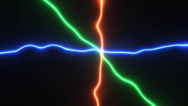 Paprsky elektřiny v Rgb Tři barvy křižující paprsky