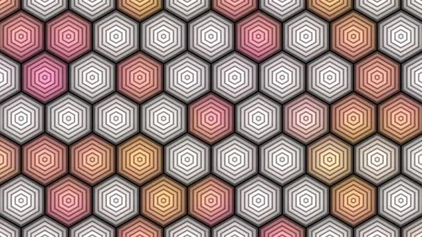 Hex Grid of Six Sided Hbive Shapes Changing Color