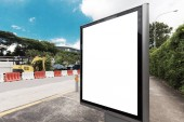 bus Station Billboard Blank White Isolated Clipping Path Outdoors Blue Sky Ad Space Advertisement