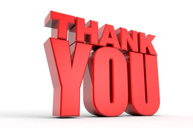 3D thank you red text on white background