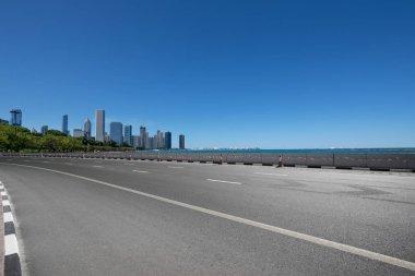 asphalt highway in modern city Chicago