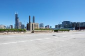 Photo empty street through modern city
